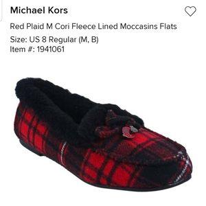 Michael kors womans red plaid moccasins flats